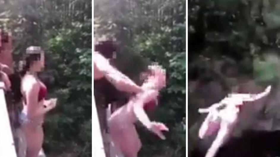 Застрашувачко видео: Девојка турната од мост висок 18 метри (ВИДЕО)