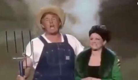 (ВИДЕО) Трамп облечен како фармер се распеа на Твитер