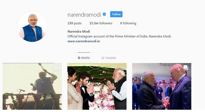 Премиерот на Индија со најмногу следачи на Инстаграм