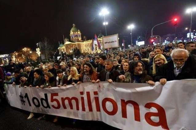 И вечерва антивладини протести во Белград (ВИДЕО)