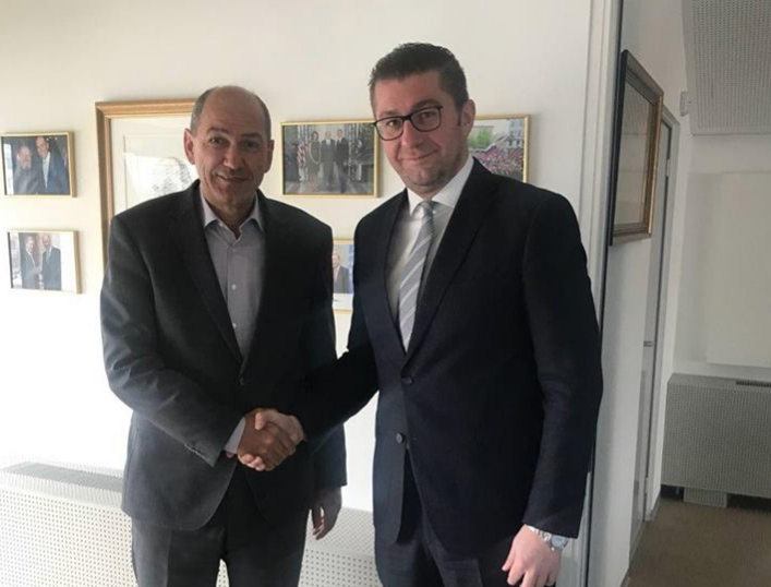 Мицкоски оствари средба со лидерот на Словенечката демократска партија, Јанез Јанша