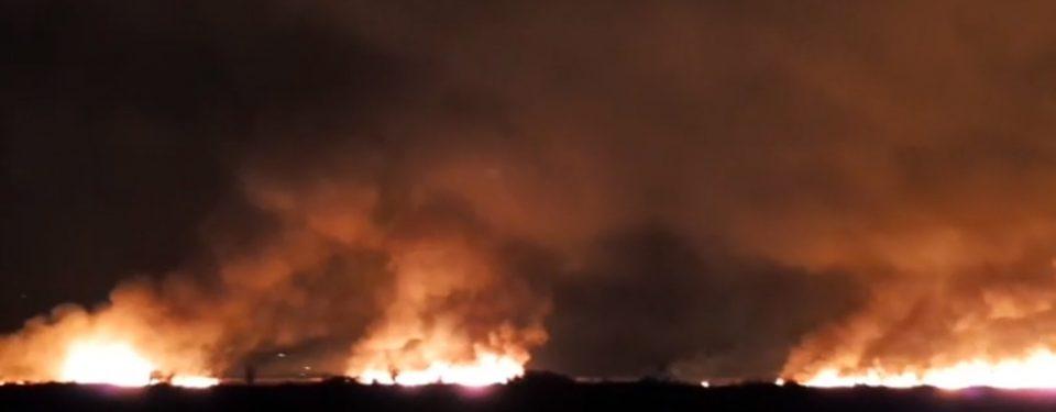 (ВИДЕО) Пожар над населбата Усје