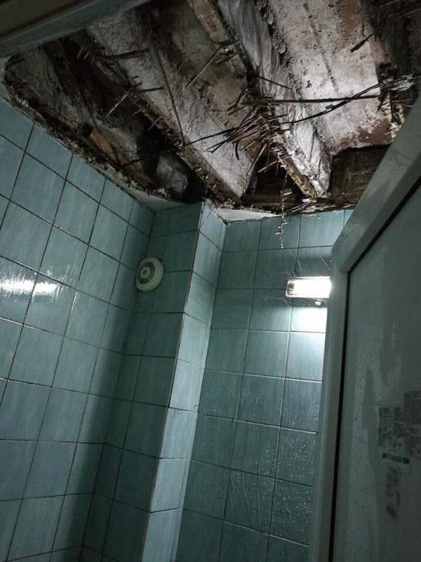 "(ВИДЕО) Ужас: Плафон од тоалет паднал во студентскиот дом ""Стив Наумов"""