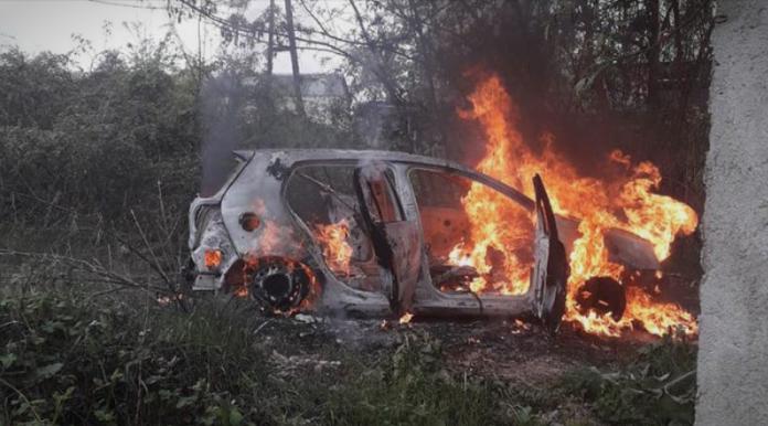"""(ВИДЕО): Возилото на ограбувачите на """"НЛБ банка"""" во пламен"""