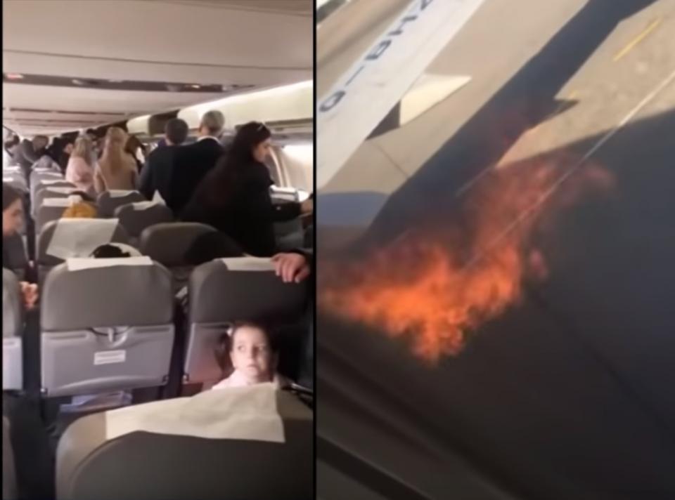 (ВИДЕО) Се запали мотор на авион, патниците скокале на крилото од вратата