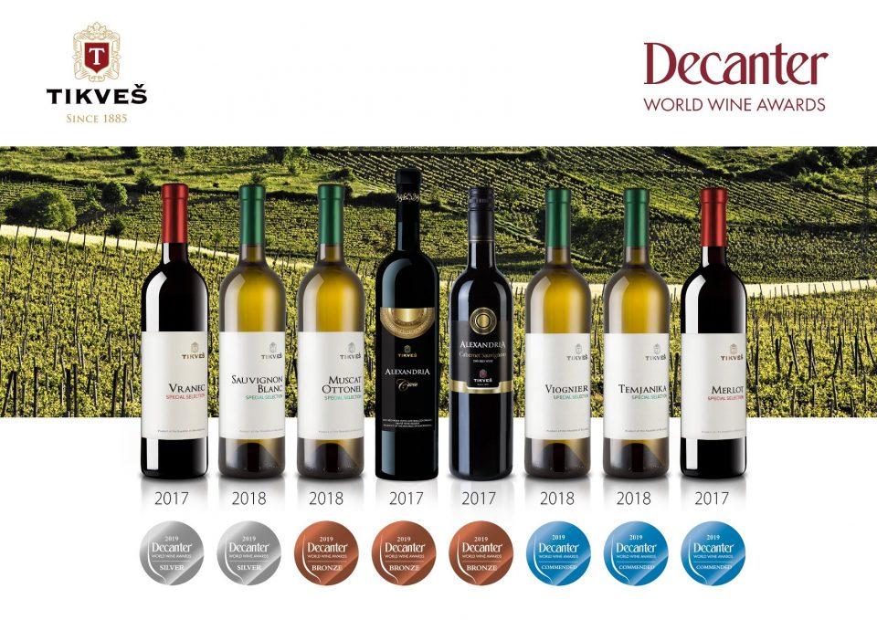 """Вината на """"Тиквеш"""" со 15 награди и признанија на најголемиот светски вински натпревар """"Декантер"""""""