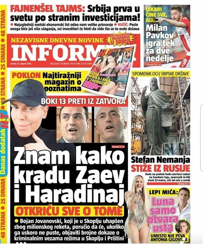 """Српски """"Информер"""": Боки 13 се заканува од затвор – Знам како крадат Заев и Харадинај"""