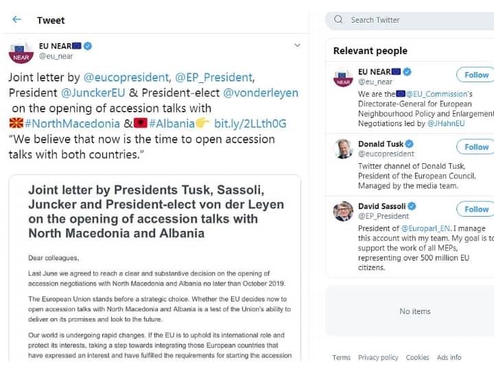 Фон дер Лејен, Туск и Сасоли бараат почеток на пристапни преговори со Македонија и Албанија