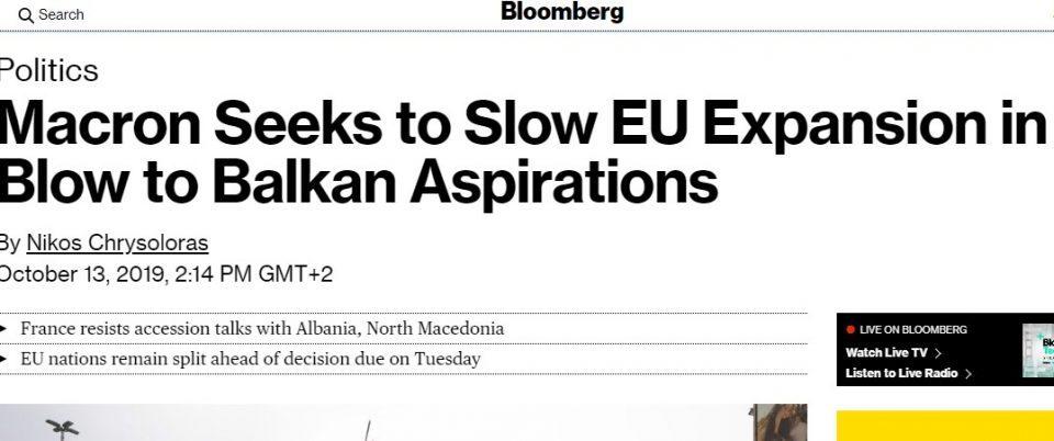 Блумберг: Никаков датум не треба да им се дава на Македонија и Албанија