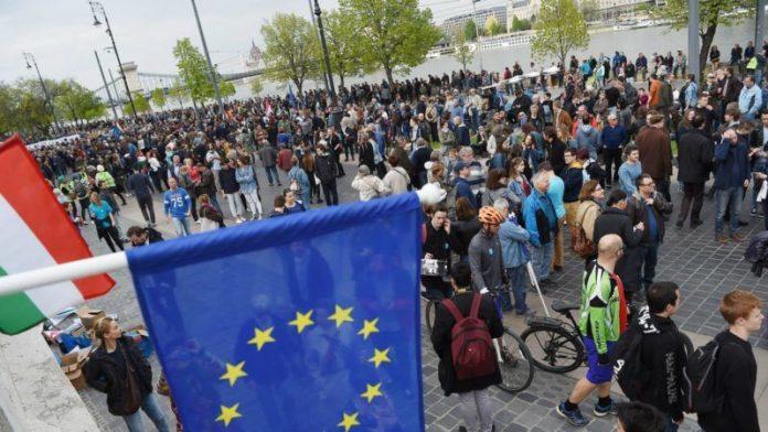 Протест пред Европската комисија против Брегзит
