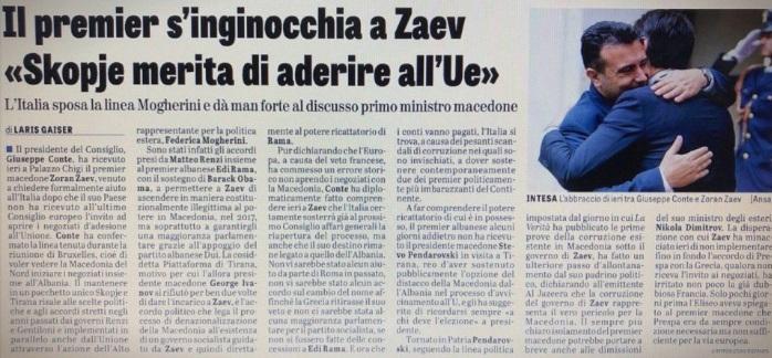 """""""Ла верита"""": Договарањата помеѓу Ренци и  Рама, поддржани од Обама, му овозможија на Заев да дојде противуставно на власт"""