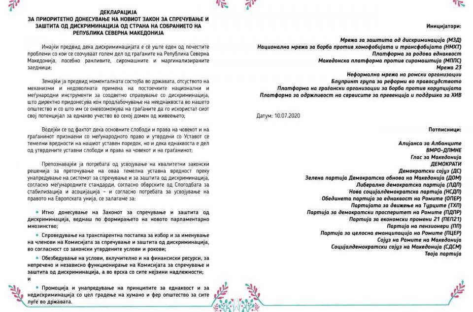 Партиите потпишаа Декларација за приоритетно донесување на Законот за спречување и заштита од дискриминација