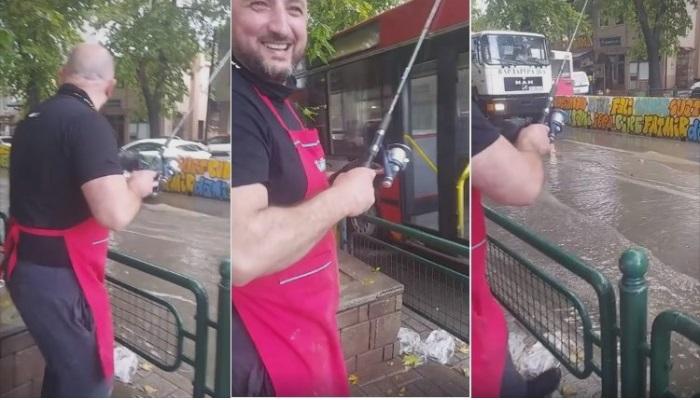 """(ВИДЕО) Чаирчани со трски во рацете """"ловат"""" риби на улица"""