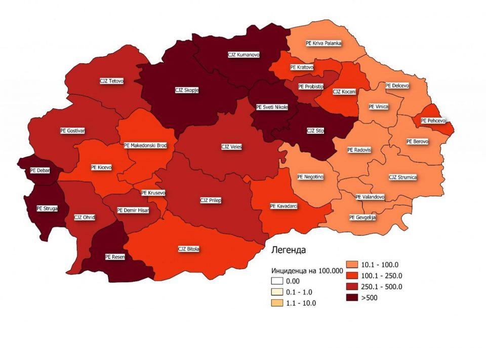 Штип, Свети Николе и Ресен имаат највисока стапка на заразени, а највисок морталитет има во Струга, Тетово и во Куманово