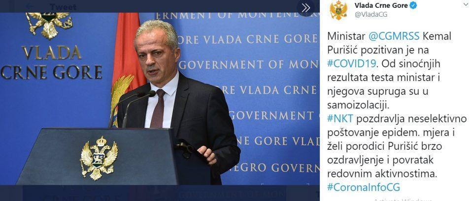 Министерот за труд на Црна Гора е позитивен на коронавирусот