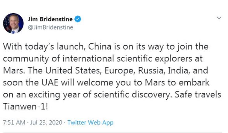 НАСА го поздрави успешниот старт на кинеската сонда за испитување на Марс