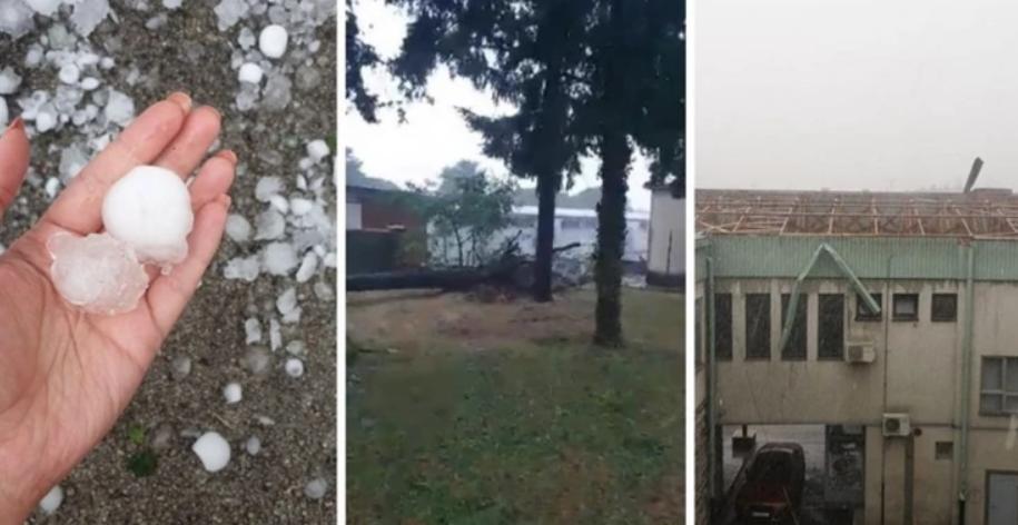 (ВИДЕО) Град со големина на орев паѓал во Хрватска: Ветерот корнел покриви и стебла