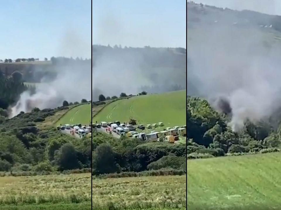 (ВИДЕО) Воз излета од шина во Шкотска: Дим на сите страни, на лице место и хелихоптер