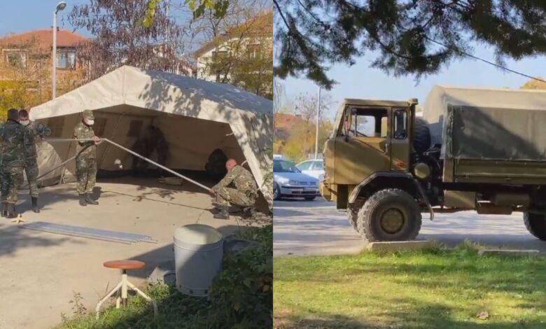 Војската постави шатори за дневна ковид болница во Куманово