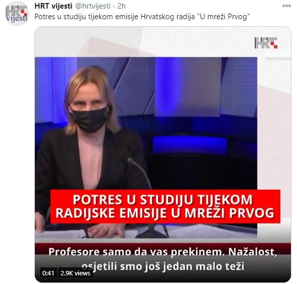 (ВИДЕО) Земјотресот во Хрватска снимен во живо на националната телевизија