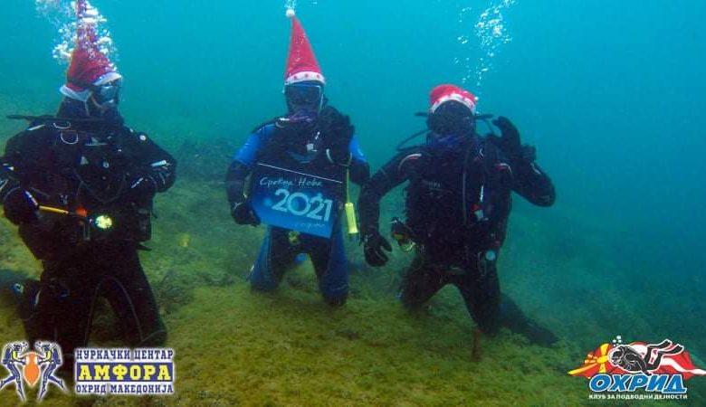 Нуркачите од Охридското езеро посакаа среќна Нова 2021