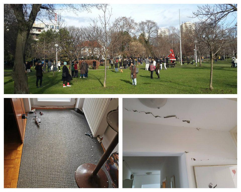 (ФОТОГАЛЕРИЈА) Народот од страв на улиците, погледнете каков е Загреб по силниот земјотрес