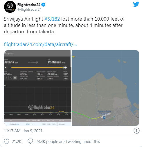 Авионот на Сривиџаја ер се урнал во заливот кај Џакарта, потврдија властите во Индонезија