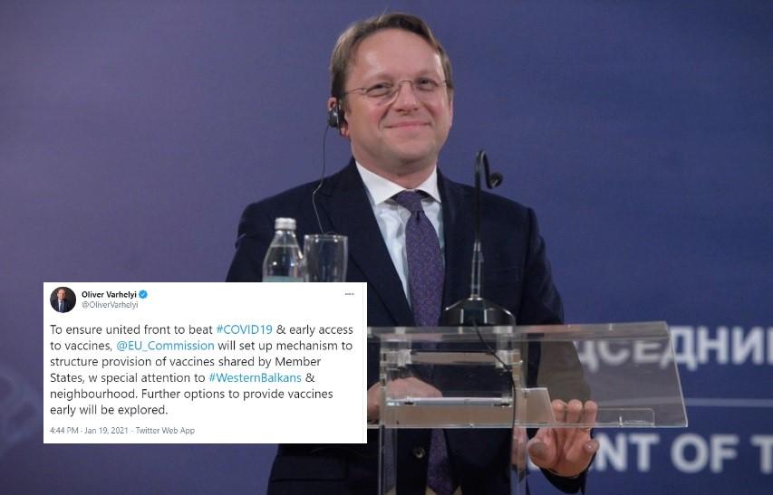 Се воспоставува механизам за пристап на вакцините до Западен Балкан, твитна Вархеј