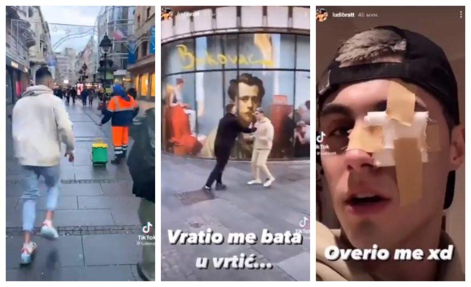 (ВИДЕО) Српски тик-токер малтретираше хигиеничар, па затоа го претепаа во центарот на градот