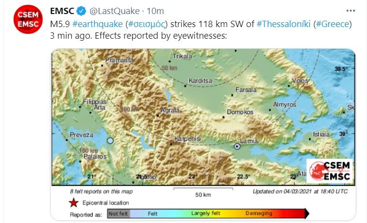 Силен земјотрес со јачина од околу 6 степени почувствуван во Македонија